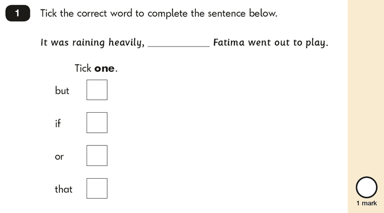 Question 01 SPaG KS1 SATs Papers 2018 - Year 2 English Exam Paper 2, Combining words, phrases and clauses