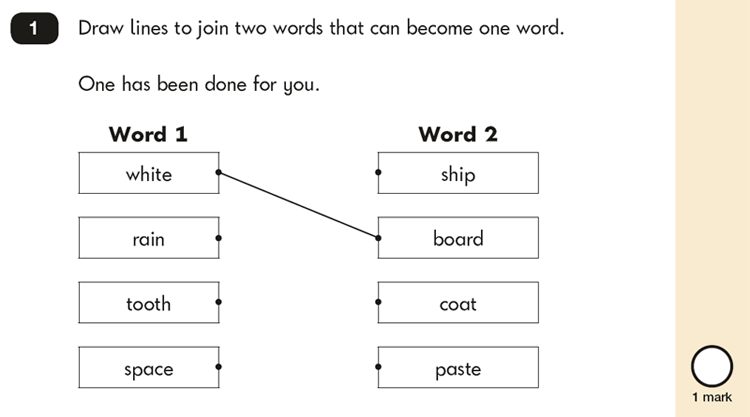 Question 01 SPaG KS1 SATs Papers 2019 - Year 2 English Past Paper 2, Vocabulary