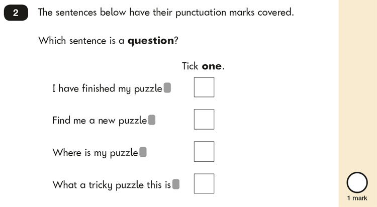 Question 02 SPaG KS1 SATs Papers 2019 - Year 2 English Test Paper 2, Functions of sentences