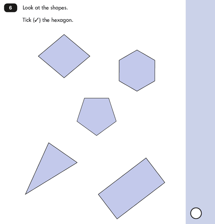 Question 06 Maths KS1 SATs Papers 2016 - Year 2 Sample Paper 2 Reasoning, Geometry, 2D shapes, Properties of shapes