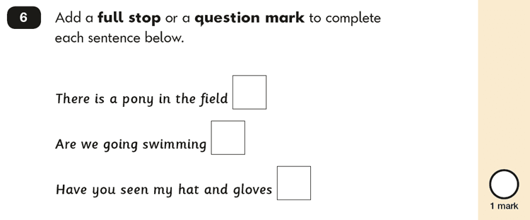 Question 06 SPaG KS1 SATs Papers 2017 - Year 2 English Past Paper 2, Functions of sentences