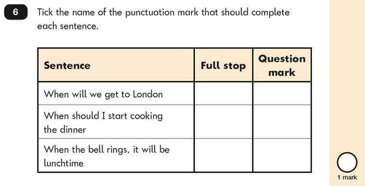 Question 06 SPaG KS1 SATs Papers 2018 - Year 2 English Past Paper 2, Punctuation