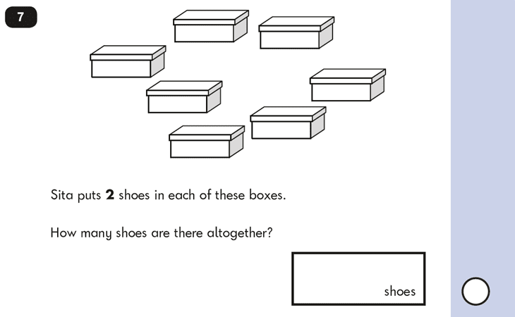 Question 07 Maths KS1 SATs Papers 2016 - Year 2 Past Paper 2 Reasoning, Numbers, Counting forward, Calculations, Multiplication, Word problems
