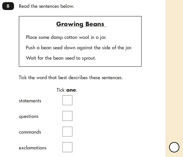 Question 08 SPaG KS1 SATs Papers 2016 - Year 2 English Sample Paper 2, Functions of sentences