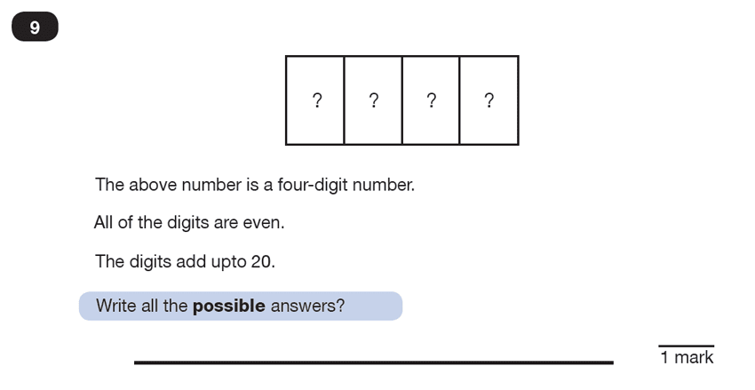 Question 09 Maths KS2 SATs Test Paper 7 - Reasoning Part C