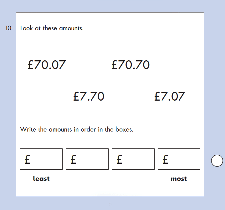 Question 10 Maths KS1 SATs Papers 2003 - Year 2 Exam Paper 2, Numbers, Place value, Order and Compare, Measurement, Money