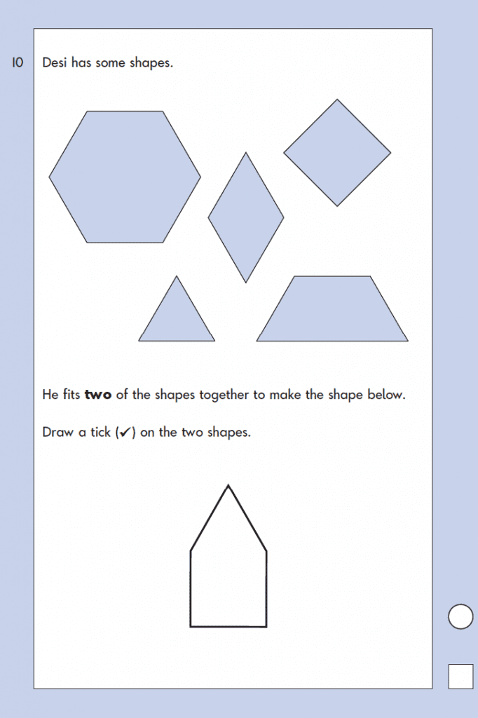 Question 10 Maths KS1 SATs Papers 2004 - Year 2 Exam Paper 1, Geometry, 2D shapes, Position and Direction, Rotation