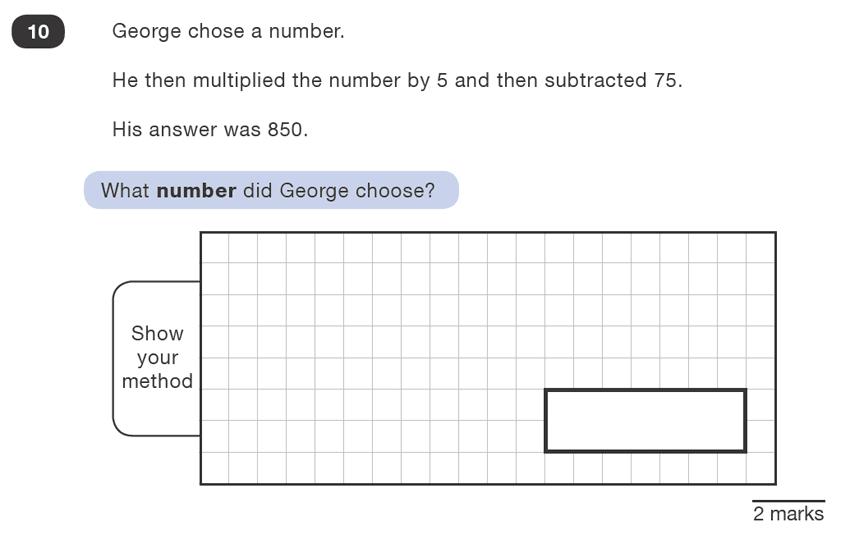Question 10 Maths KS2 SATs Test Paper 1 - Reasoning Part B