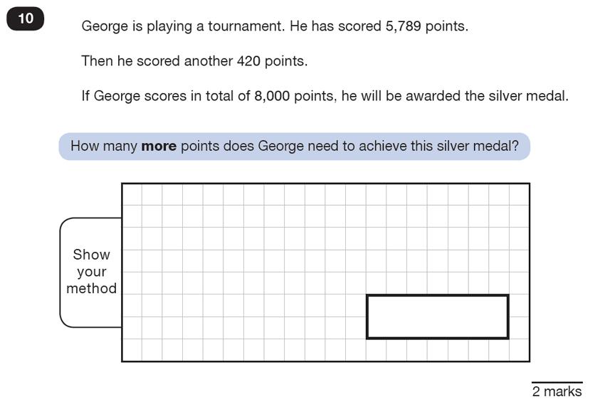 Question 10 Maths KS2 SATs Test Paper 5 - Reasoning Part B