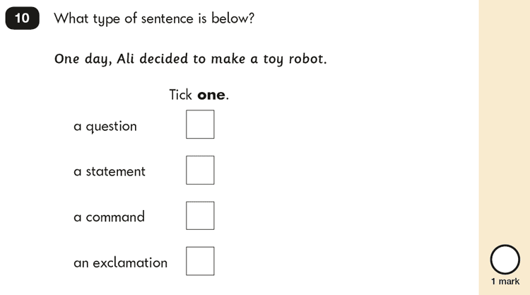 Question 10 SPaG KS1 SATs Papers 2016 - Year 2 English Exam Paper 2, Functions of sentences