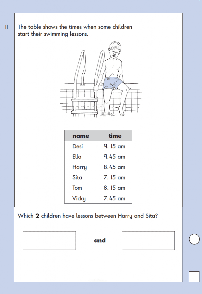 Question 11 Maths KS1 SATs Papers 2003 - Year 2 Past Paper 2, Numbers, Order and Compare, Measurement, Time