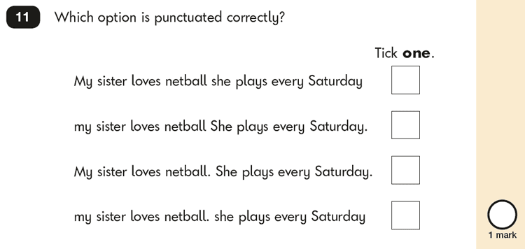 Question 11 SPaG KS1 SATs Papers 2018 - Year 2 English Past Paper 2, Punctuation