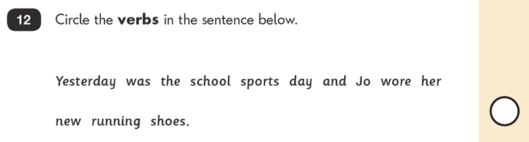 Question 12 SPaG KS1 SATs Papers 2016 - Year 2 English Test Paper 2, Grammatical terms / word classes