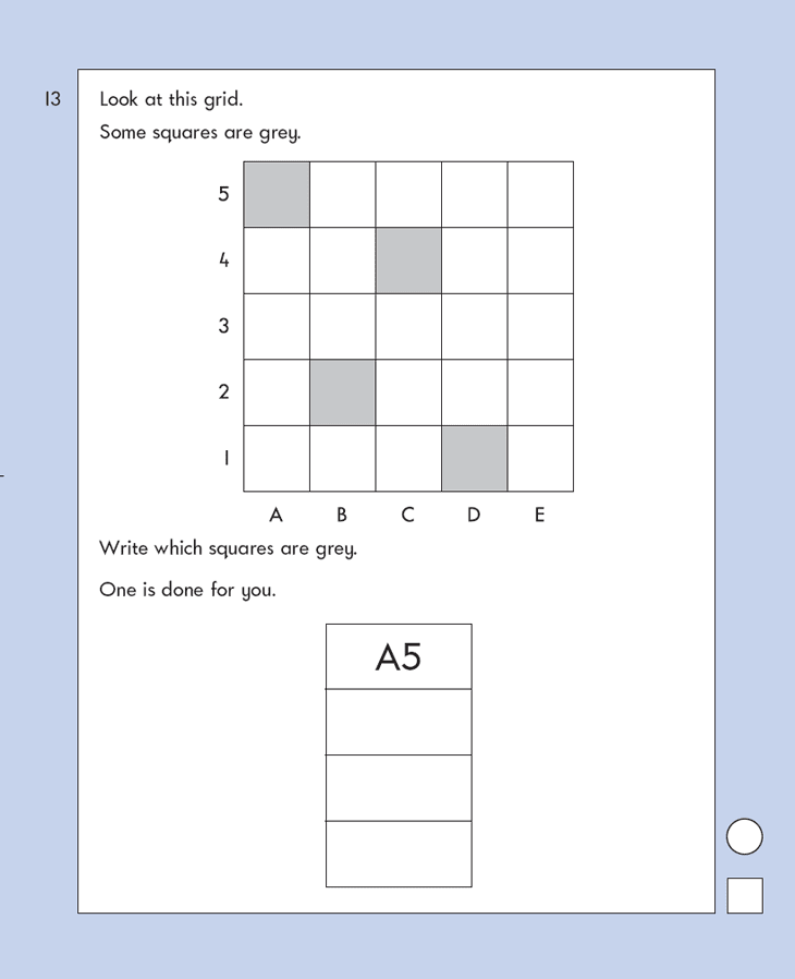 Question 13 Maths KS1 SATs Papers 2007 - Year 2 Practice Paper 1, Geometry, Position and Direction
