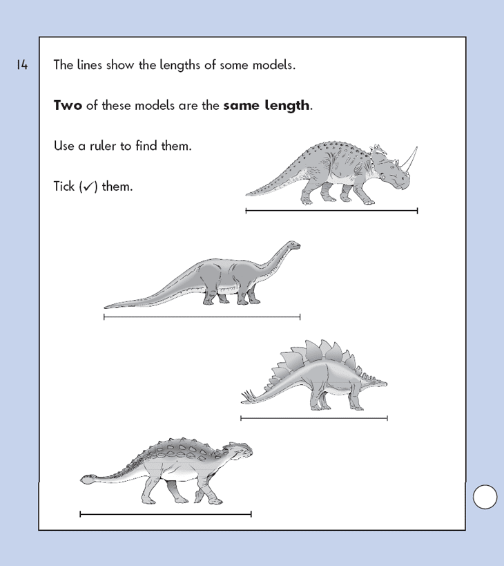 Question 14 Maths KS1 SATs Papers 2009 - Year 2 Exam Paper 1, Measurement, Ruler Measurement