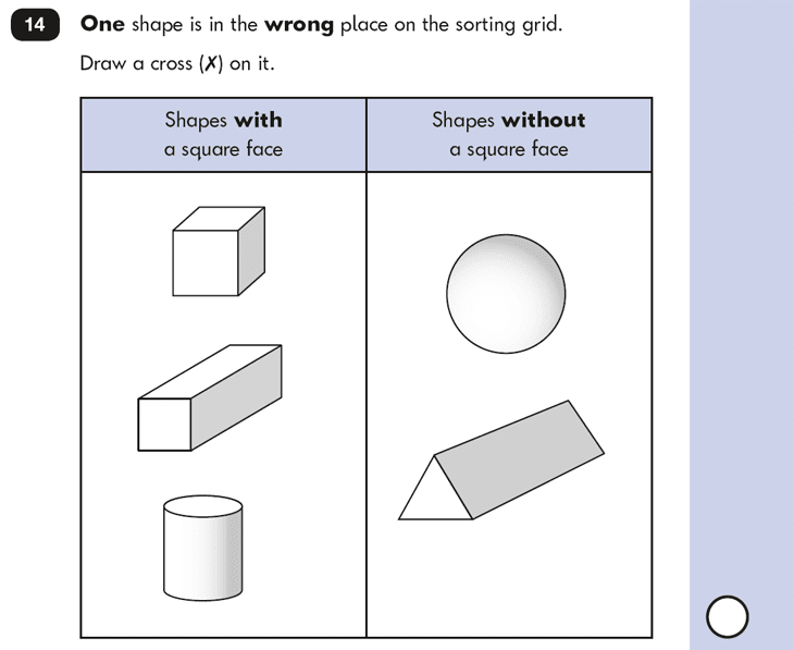 Question 14 Maths KS1 SATs Papers 2016 - Year 2 Exam Paper 2 Reasoning, Geometry, 3D shapes, Properties of shapes
