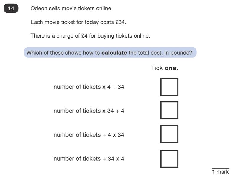 Question 14 Maths KS2 SATs Test Paper 1 - Reasoning Part B