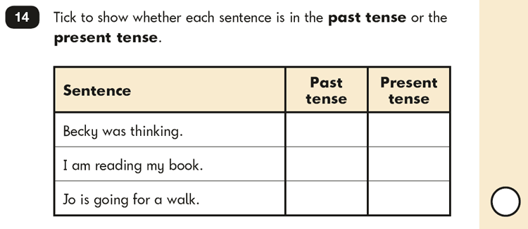 Question 14 SPaG KS1 SATs Papers 2016 - Year 2 English Practice Paper 2, Verb tenses and consistency
