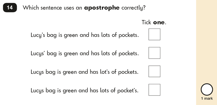 Question 14 SPaG KS1 SATs Papers 2016 - Year 2 English Practice Paper 2, Punctuation