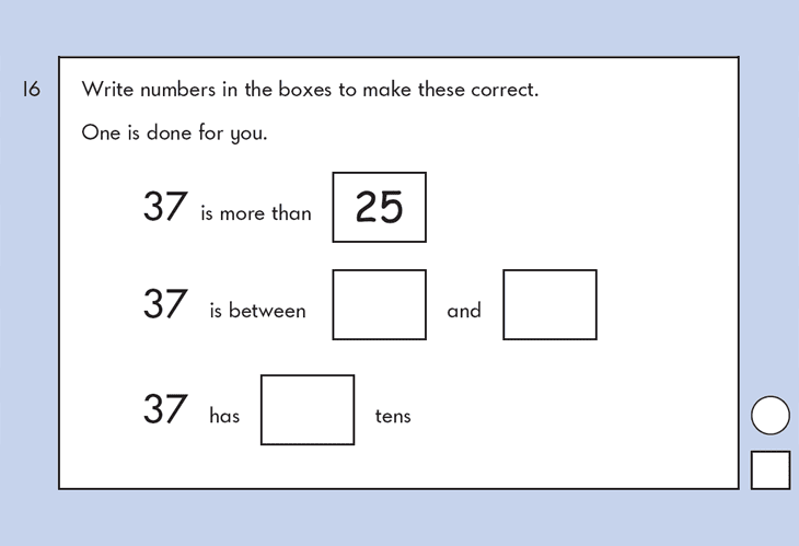 Question 16 Maths KS1 SATs Papers 2009 - Year 2 Sample Paper 1, Numbers, Order and Compare, Place value