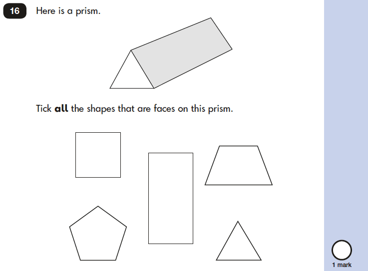 Question 16 Maths KS1 SATs Papers 2019 - Year 2 Practice Paper 2 Reasoning, Geometry, 2D shapes, Identify the surface, 3D shapes