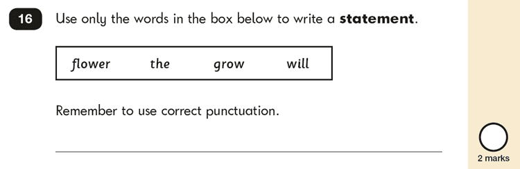 Question 16 SPaG KS1 SATs Papers 2019 - Year 2 English Past Paper 2, Functions of sentences