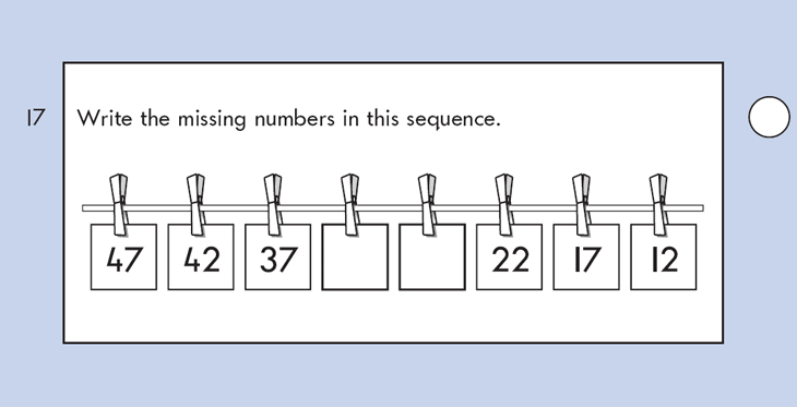Question 17 Maths KS1 SATs Papers 2002 - Year 2 Practice Paper 1, Numbers, Counting backwards, Calculations, Subtraction