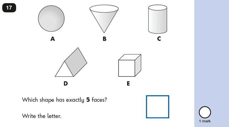 Question 17 Maths KS1 SATs Papers 2016 - Year 2 Practice Paper 2 Reasoning, Geometry, 3D shapes
