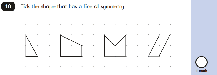 Question 18 Maths KS1 SATs Papers 2019 - Year 2 Practice Paper 2 Reasoning, Geometry, 2D shapes, Lines of symmetry