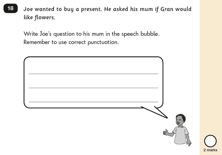 Question 18 SPaG KS1 SATs Papers 2016 - Year 2 English Sample Paper 2, Functions of sentences