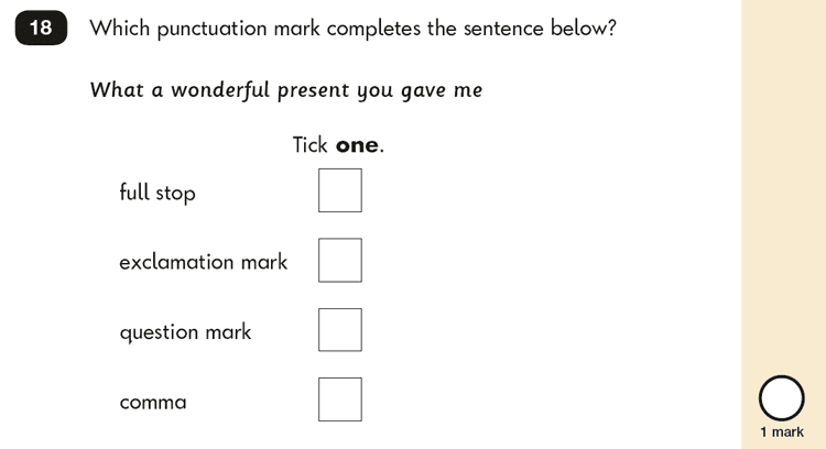 Question 18 SPaG KS1 SATs Papers 2016 - Year 2 English Sample Paper 2, Punctuation