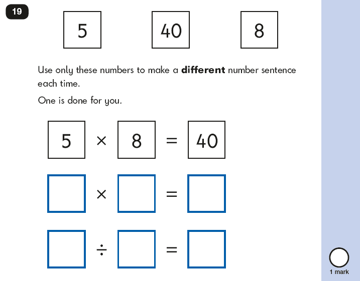 Question 19 Maths KS1 SATs Papers 2018 - Year 2 Past Paper 2 Reasoning, Calculations, Multiplication, Division
