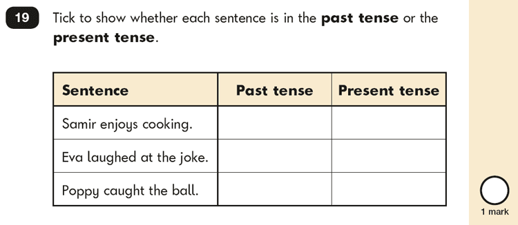 Question 19 SPaG KS1 SATs Papers 2019 - Year 2 English Practice Paper 2, Verb tenses and consistency