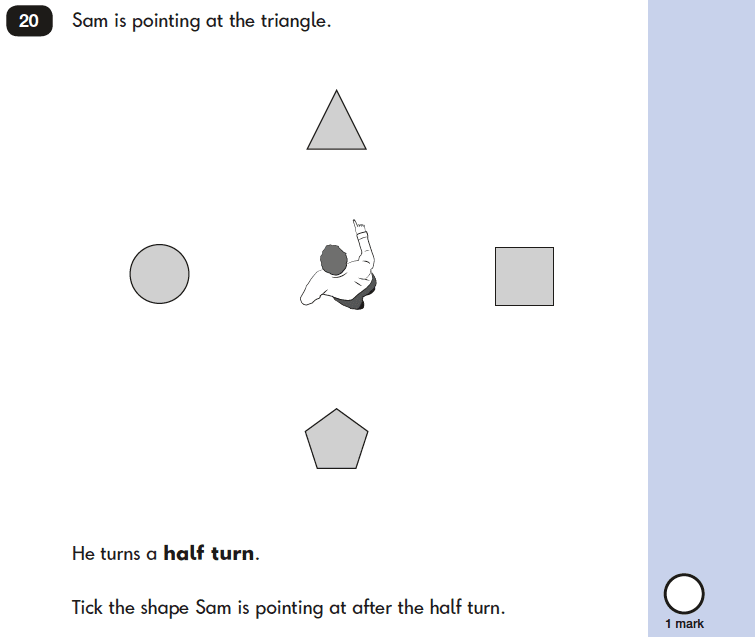 Question 20 Maths KS1 SATs Papers 2019 - Year 2 Practice Paper 2 Reasoning, Geometry, Position and Direction, Rotation