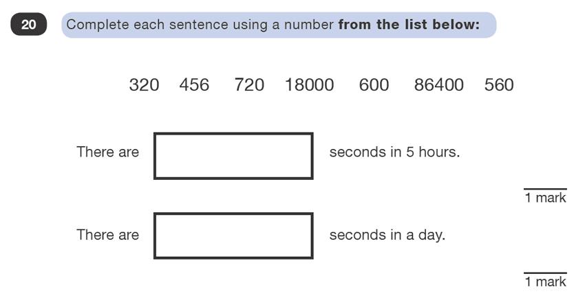 Question 20 Maths KS2 SATs Test Paper 1 - Reasoning Part B