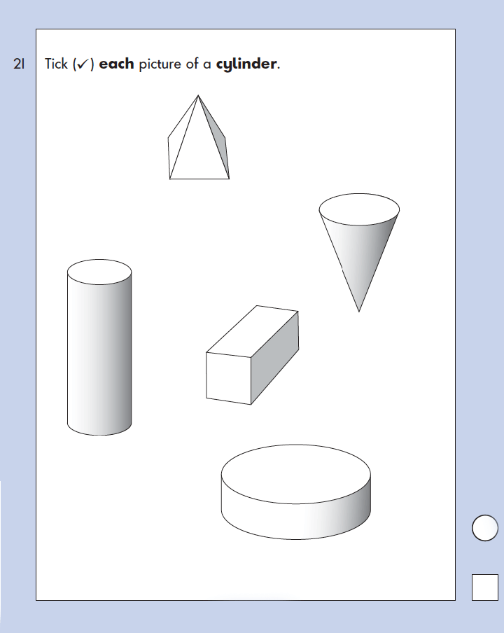 Question 21 Maths KS1 SATs Papers 2003 - Year 2 Exam Paper 1, Geometry, 3D shapes