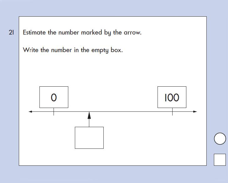 Question 21 Maths KS1 SATs Papers 2003 - Year 2 Practice Paper 2, Numbers, Numberline, Measurement, Estimate, Ruler Measurement