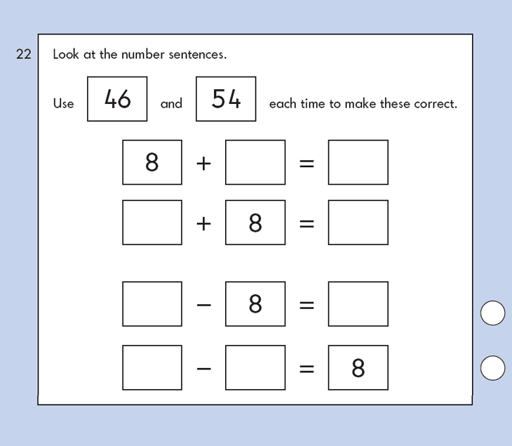 Question 22 Maths KS1 SATs Papers 2009 - Year 2 Exam Paper 1, Calculations, Addition, Subtraction, logical problems