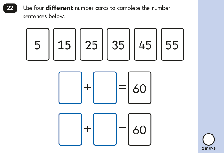Question 22 Maths KS1 SATs Papers 2018 - Year 2 Past Paper 2 Reasoning, Calculations, Addition