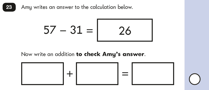 Question 23 Maths KS1 SATs Papers 2016 - Year 2 Past Paper 2 Reasoning, Calculations, Addition, Subtraction