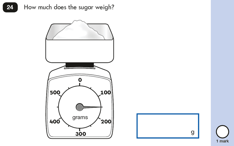 Question 24 Maths KS1 SATs Papers 2016 - Year 2 Sample Paper 2 Reasoning, Measurement, Scale reading