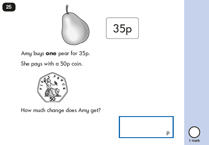 Question 25 Maths KS1 SATs Papers 2018 - Year 2 Past Paper 2 Reasoning, Calculations, Subtraction, Measurement, Money