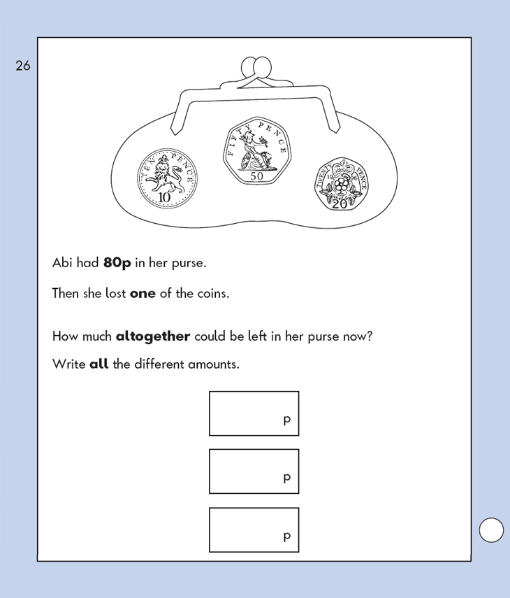 Question 26 Maths KS1 SATs Papers 2009 - Year 2 Exam Paper 1, Measurement, Money, Word problems