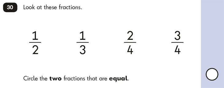 Question 30 Maths KS1 SATs Papers 2016 - Year 2 Exam Paper 2 Reasoning, Fractions