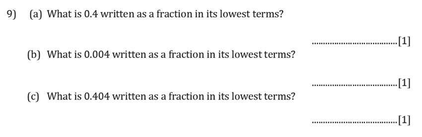 Reigate Grammar School - 11+ Maths Entrance Exam Paper - 2019 Question 09, Numbers, Fractions, Decimals
