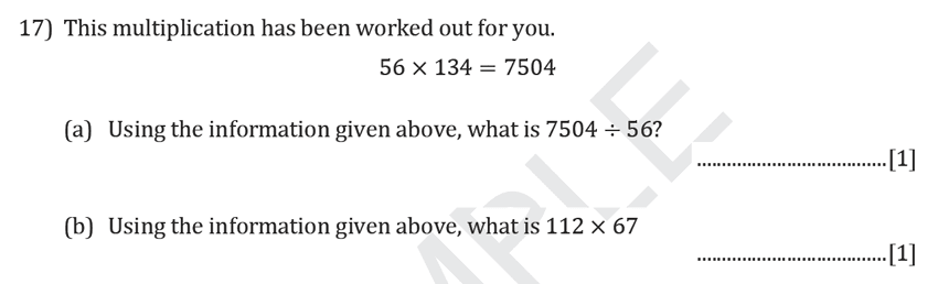 Reigate Grammar School - 11+ Maths Entrance Exam Paper - 2019 Question 17, Numbers, Multiplication, Division, Logical Problems
