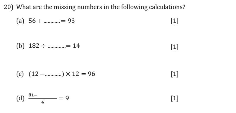 Reigate Grammar School - 11+ Maths Entrance Exam Paper - 2019 Question 20, Algebra, BIDMAS, Simplifying expressions