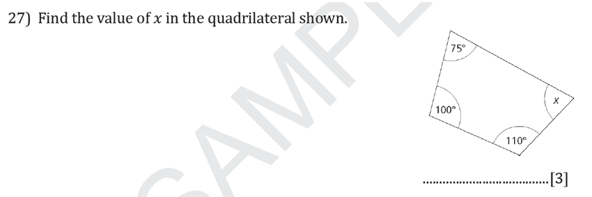 Reigate Grammar School - 11+ Maths Entrance Exam Paper - 2019 Question 27, Geometry, Angles, Polygons