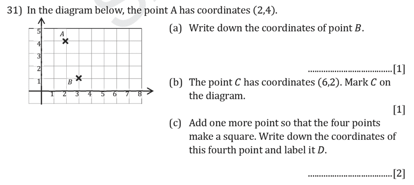 Reigate Grammar School - 11+ Maths Entrance Exam Paper - 2019 Question 31, Geometry, Coordinates, Squares
