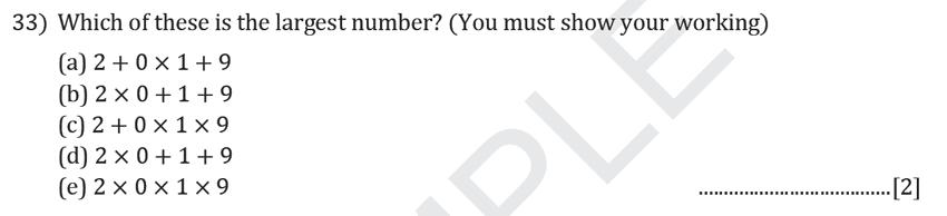 Reigate Grammar School - 11+ Maths Entrance Exam Paper - 2019 Question 33, Algebra, BIDMAS